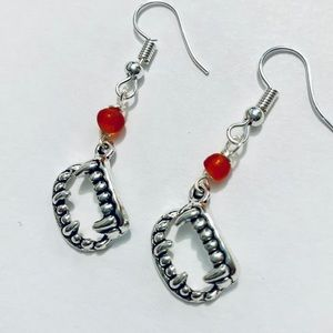 Jewelry - OOAK Small Red & Silver Vampire Mouth Earrings